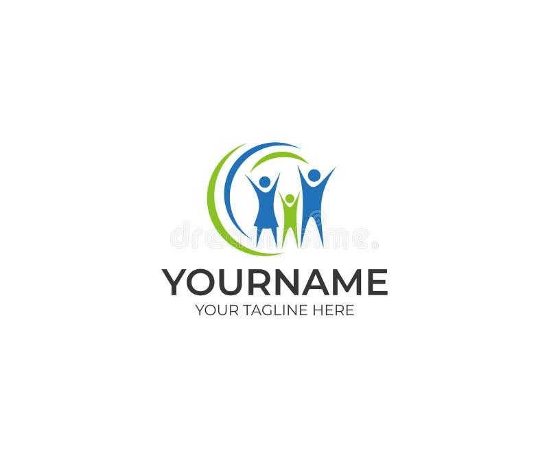 Molde feliz do logotipo da família O pessoa entrega acima do projeto do vetor ilustração stock