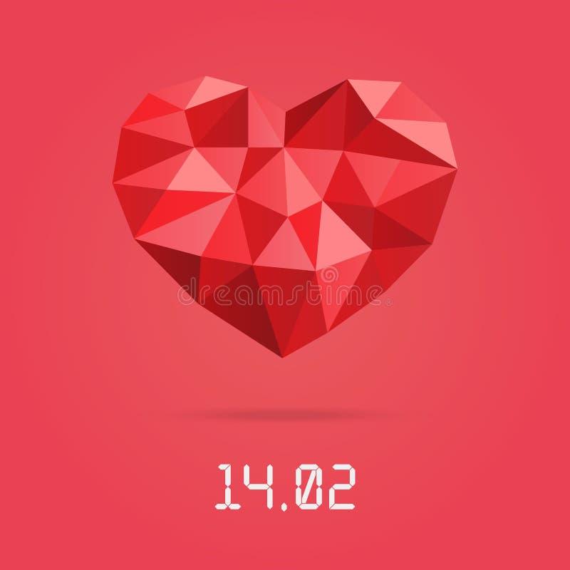 Molde feliz do projeto do dia de Valentim Baixo coração poligonal com data de dia dos Valentim ilustração stock