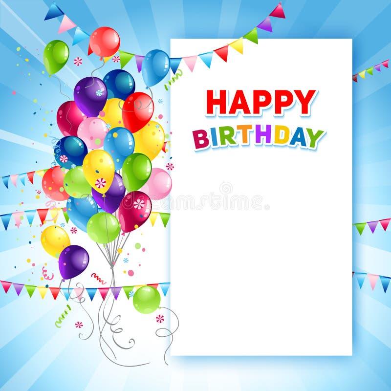 Molde festivo do cartão do feliz aniversario ilustração do vetor