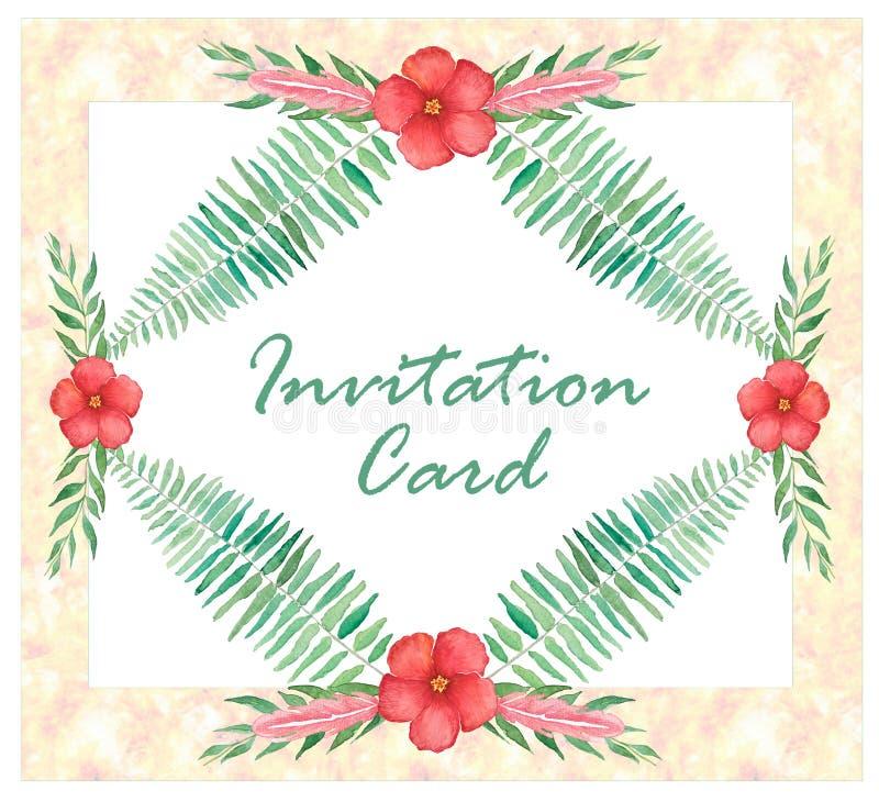 Molde floral do convite com ramos, penas e flores imagem de stock royalty free