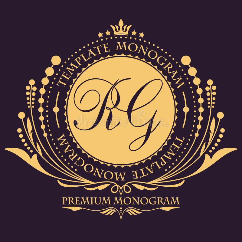 Molde floral elegante do projeto do monograma do vintage para uma ou dois letras Ornamento elegante caligráfico Sinal do negócio, ilustração stock