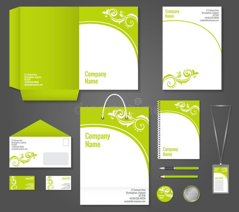 Molde floral verde dos artigos de papelaria do negócio ilustração stock