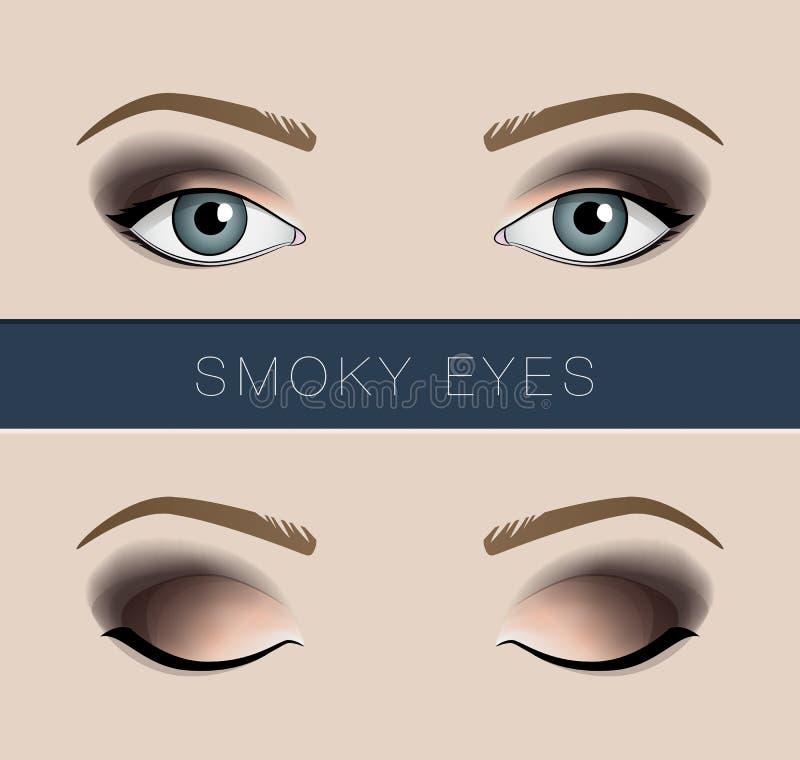 Molde fumarento da forma do vetor da composição dos olhos ilustração stock