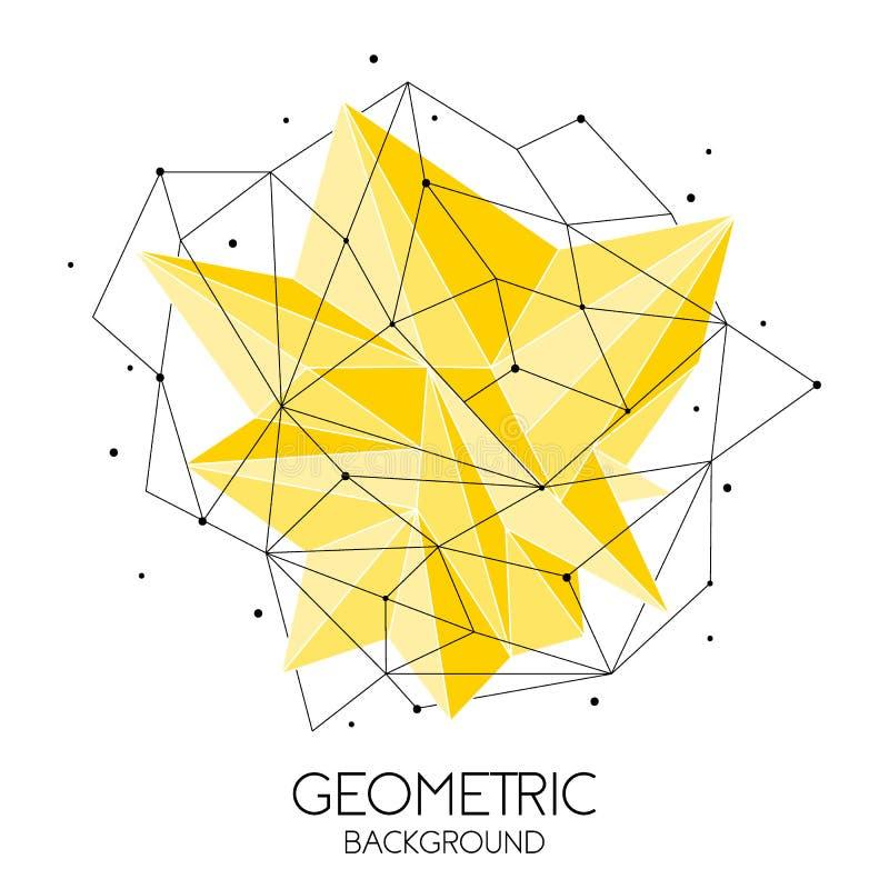 Molde futurista abstrato poligonal, baixo sinal poli no fundo branco Linhas do vetor, pontos e formas do triângulo ilustração royalty free