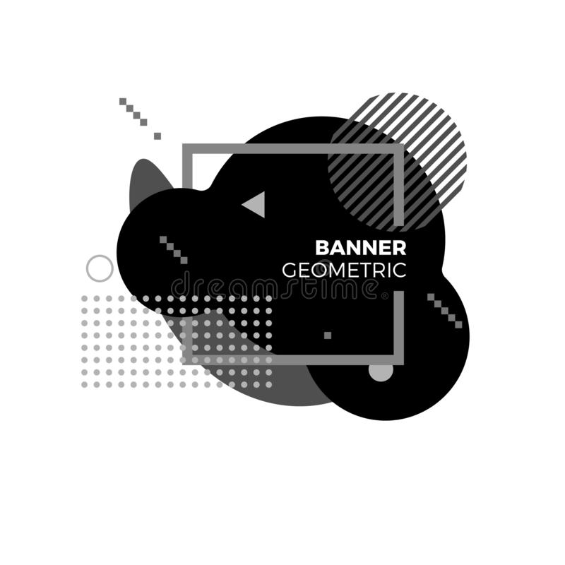 Molde geométrico criativo da bandeira Elementos gráficos futuristas preto e branco modernos para a tampa do álbum da música ou o  ilustração do vetor