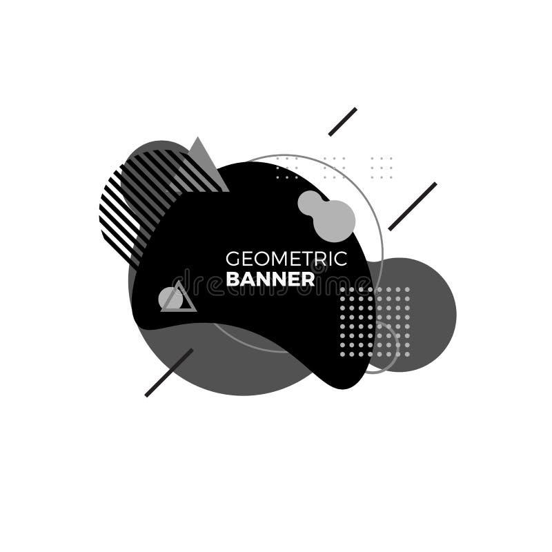 Molde geométrico criativo da bandeira Formas preto e branco do inclinação Elementos gráficos futuristas modernos para a tampa do  ilustração royalty free