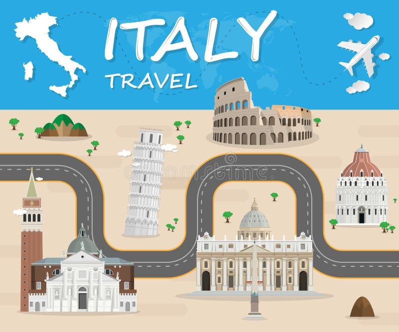 Molde global do projeto do vetor de Infographic do curso e da viagem do marco de Itália Ilustração do vetor ilustração royalty free