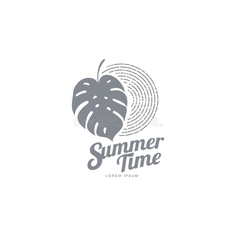Molde gráfico branco preto do logotipo com folha de palmeira do monstera ilustração royalty free