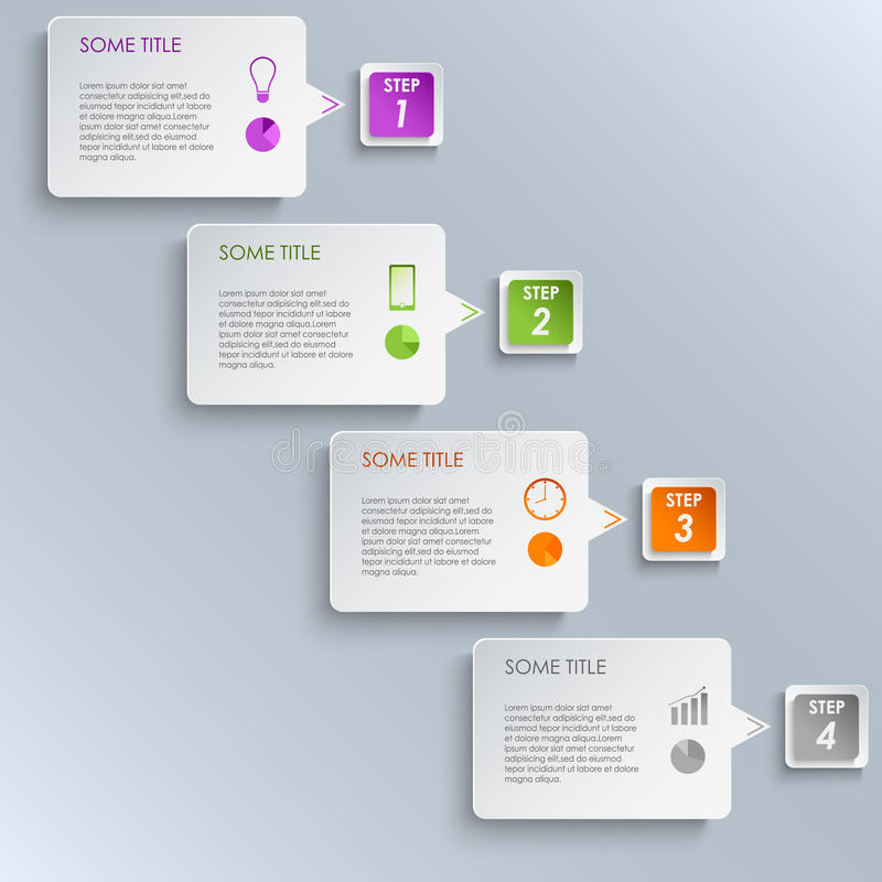 Molde gráfico do projeto das etapas da informação ilustração do vetor