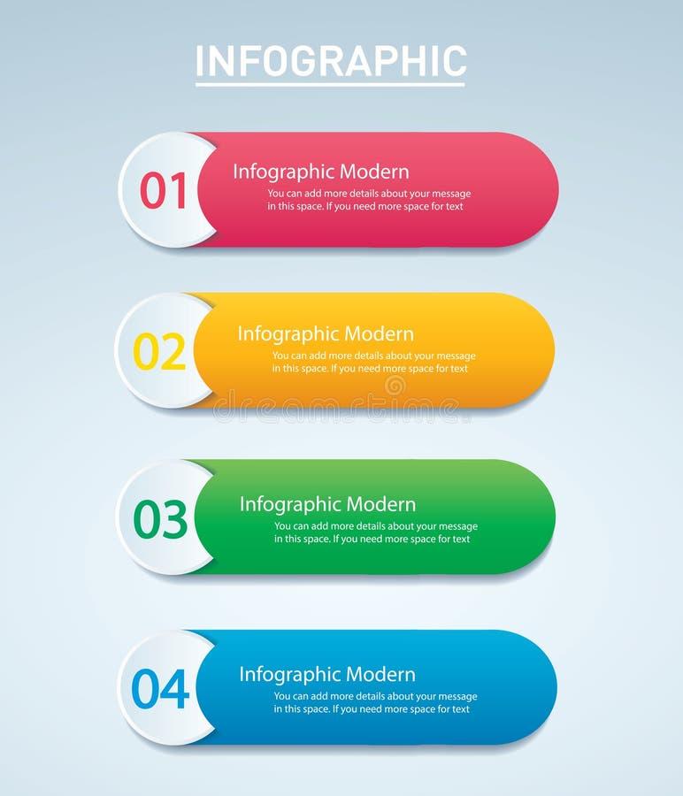 Molde gráfico do vetor da informação com 4 opções ilustração stock