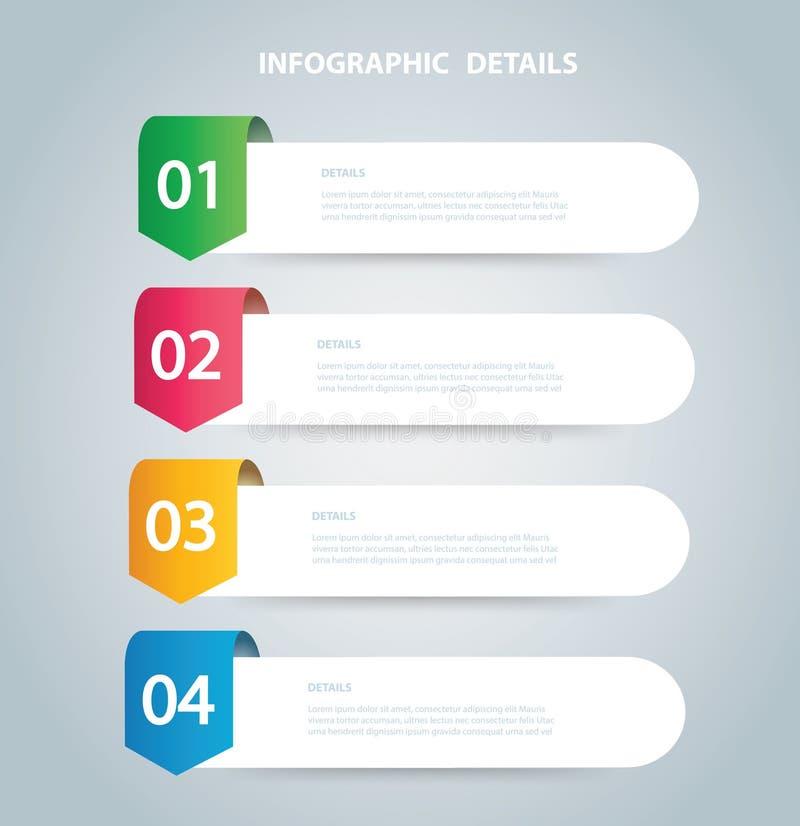 Molde gráfico do vetor da informação quadrada com 4 opções Pode ser usado para a Web, diagrama, gráfico, apresentação, carta, rel ilustração do vetor