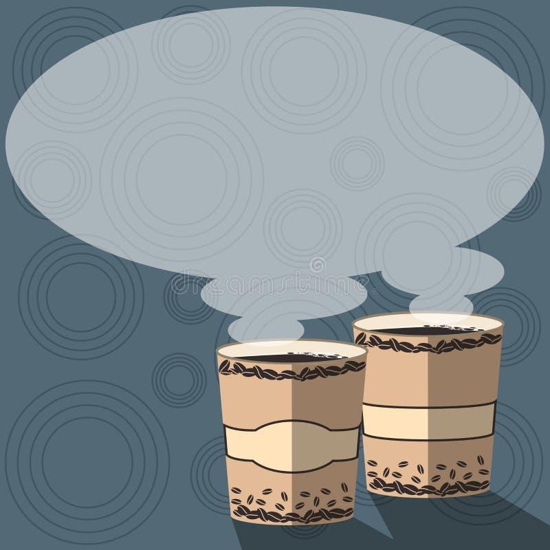 Molde gráfico minimalista isolado da disposição do negócio do projeto molde vazio para anunciar dois para ir copo com bebida ilustração royalty free