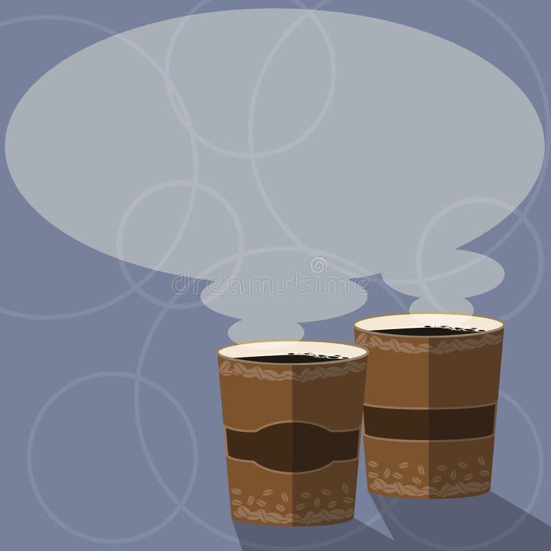 Molde gráfico minimalista isolado da disposição do negócio do projeto molde vazio para anunciar dois para ir copo com bebida ilustração stock