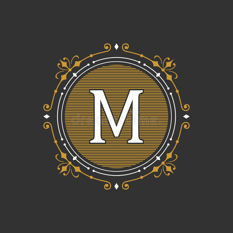 Molde gracioso à moda do emblema do monograma Ilustração do vetor ilustração stock