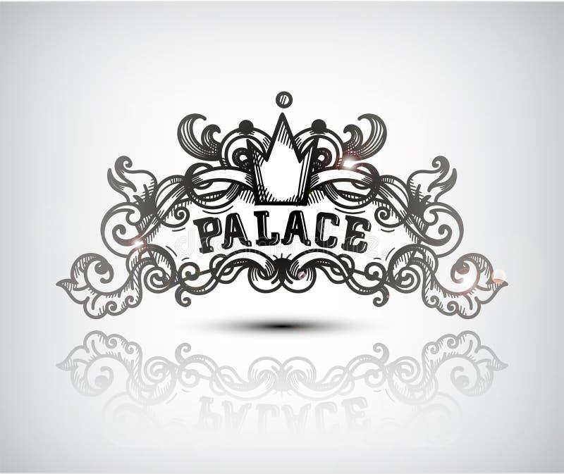 Molde gracioso do projeto da gravura do monograma Linha caligráfica logotipo da arte ilustração royalty free
