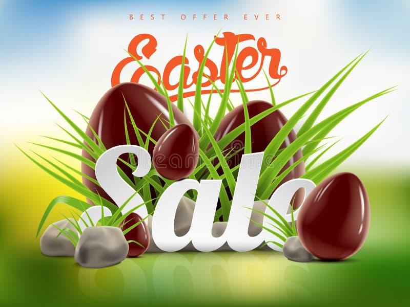 Molde grande do fundo da bandeira da venda da Páscoa com oferta enorme do disconto, grama verde, pedras e ovos de chocolate ilustração stock