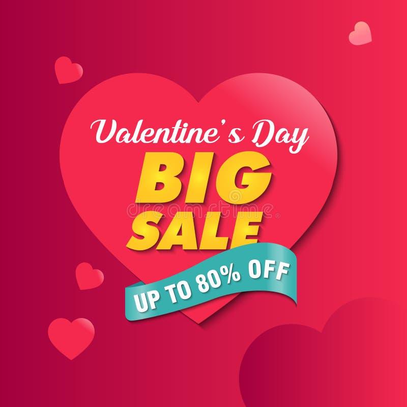 Molde grande do projeto da bandeira da Web do Promo da venda do dia de Valentim ilustração do vetor