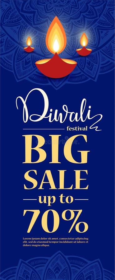 Molde grande do projeto da venda do festival de Diwali ilustração de queimar a lâmpada de óleo do diya de Diwali para o festival  ilustração stock