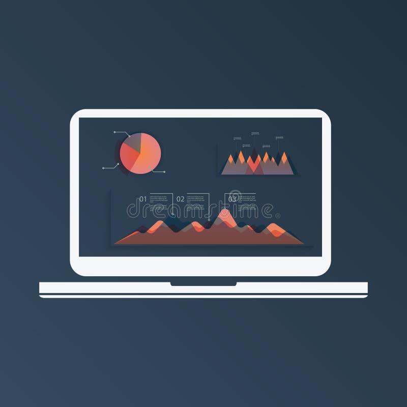 Molde grande dos infographcis da análise de computador dos dados com gráficos e carta de torta na tela do portátil Tecnologia mod ilustração stock