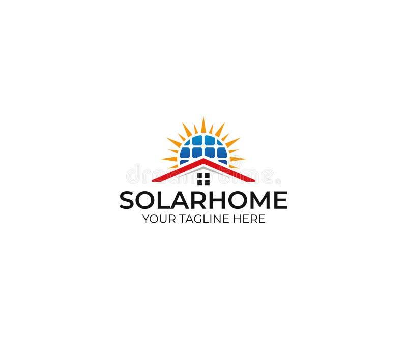 Molde home solar do logotipo Projeto do vetor do painel solar e do sol ilustração do vetor