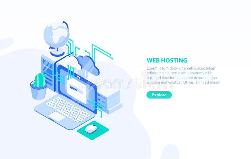 Molde horizontal criativo da bandeira com laptop, servidor e lugar para o texto Web ou Internet que hospedam a tecnologia ilustração stock