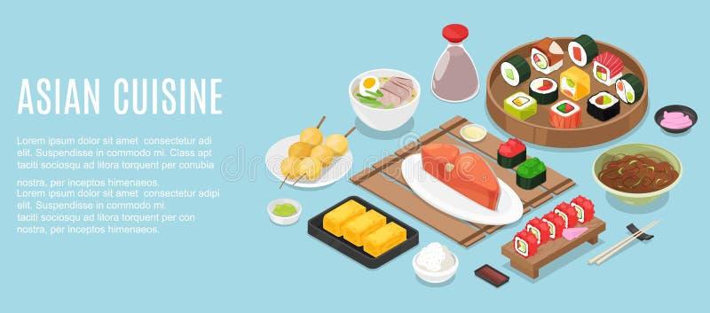 Molde horizontal da bandeira com refei??es saborosos da culin?ria ou do quadro malaio feita do restaurante asi?tico picante delic ilustração do vetor