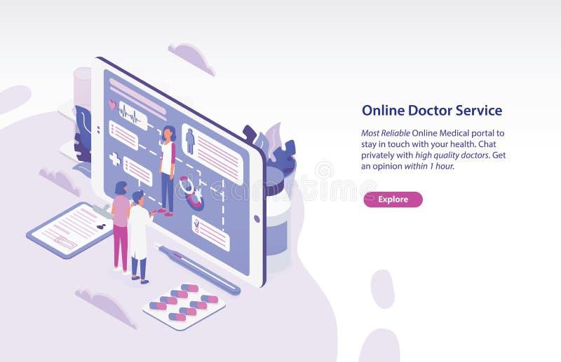 Molde horizontal da bandeira da Web com o paciente e o médico que estão na frente do PC gigante da tabuleta e que olham completam ilustração do vetor