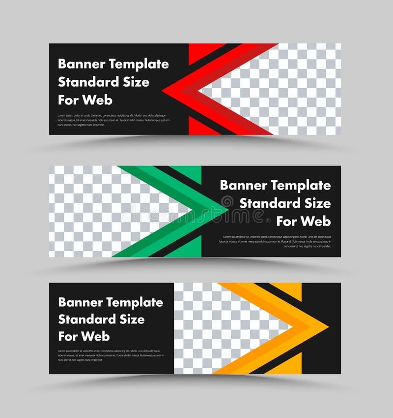 Molde horizontal das bandeiras da Web do vetor preto com lugar para a foto e elementos triangulares do projeto da cor ilustração stock