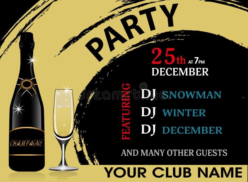 Molde horizontal do convite da festa de Natal com garrafa e copo de vinho do champanhe Fundo do ano novo Vetor ilustração royalty free
