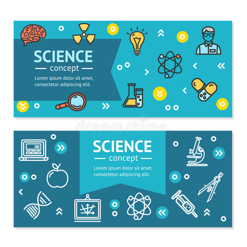 Molde horizontal do grupo de cartão dos cartazes das bandeiras da pesquisa da ciência do vetor ilustração stock