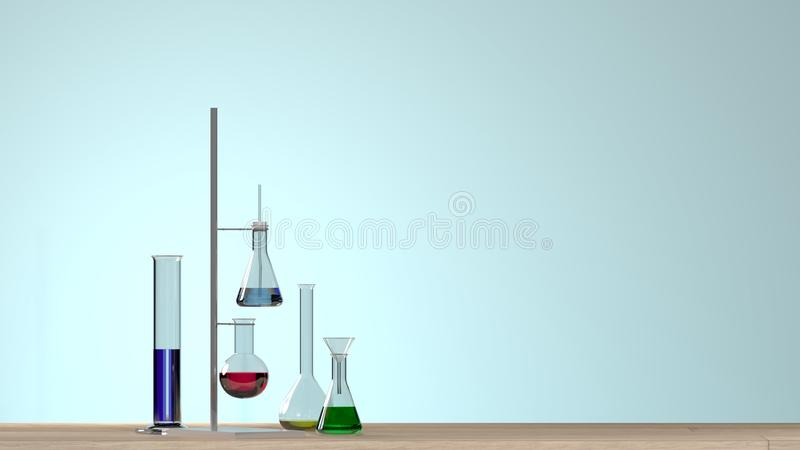 molde horizontal do laboratório branco moderno limpo da ilustração 3D para um equipamento de laboratório do cartaz sem laborat da ilustração do vetor
