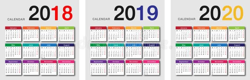 Molde 2020 horizontal do projeto do vetor do calendário do ano 2018 e do ano 2019 e do ano ilustração do vetor