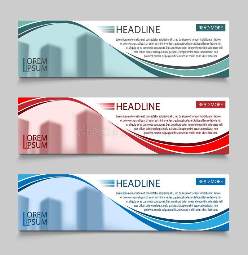 Molde horizontal do vetor das bandeiras do negócio do Web site Projeto de conceito abstrato do negócio do projeto da bandeira com ilustração do vetor