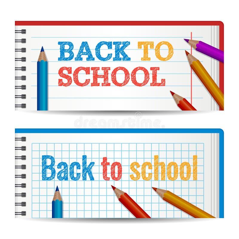 Molde horizontal moderno das bandeiras com de volta a texto tirado mão da escola Camadas de papel do caderno Lápis coloridos colo ilustração stock