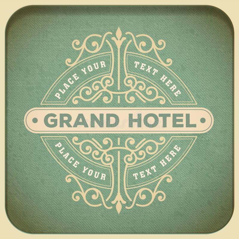 Molde, hotel, restaurante, negócio ou boutique do logotipo do vintage mim ilustração royalty free