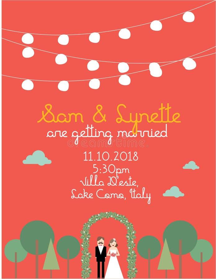 Molde /illustration Do Cartão Do Convite Do Casamento Fotografia de Stock Royalty Free