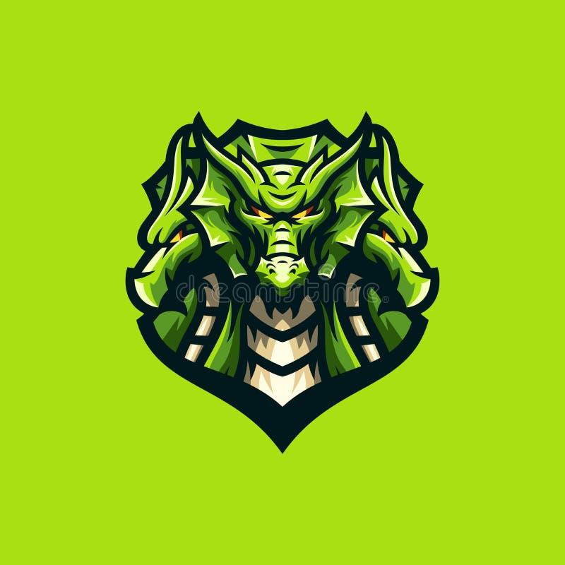 Molde impressionante do esporte do logotipo do dragão ilustração do vetor