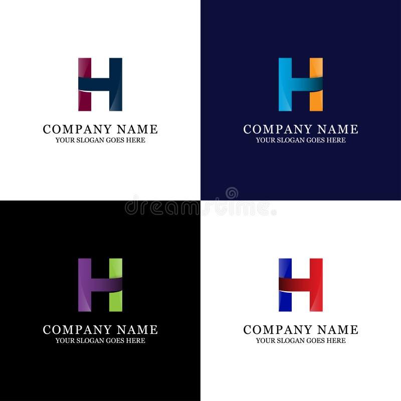Molde impressionante do logotipo da letra de H - vetor moderna e da tendência da inicial ilustração stock
