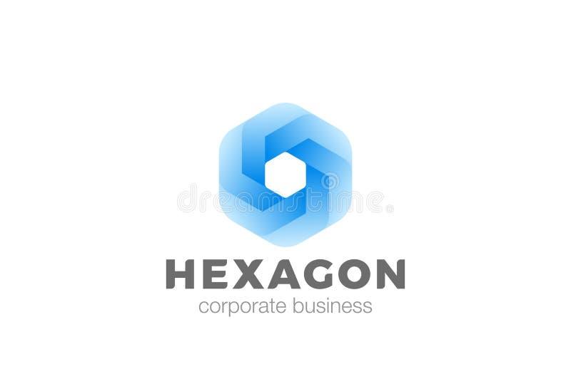Molde incorporado do vetor do projeto da infinidade do logotipo do sumário da forma do hexágono Logotype geométrico universal c d ilustração do vetor