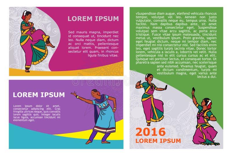 Molde indiano do cartaz dos dançarinos do vetor ilustração do vetor
