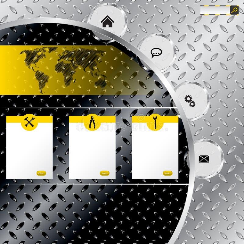 Molde industrial do Web site com fundo metálico da placa ilustração stock