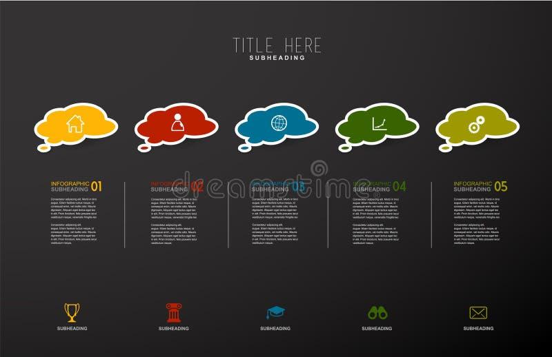 Molde infographic abstrato com bolhas e etapas ilustração royalty free