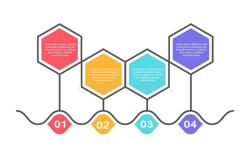 Molde infographic abstrato com 4 etapas para o sucesso Molde do círculo de negócio com opções para o folheto, diagrama, trabalhos ilustração stock