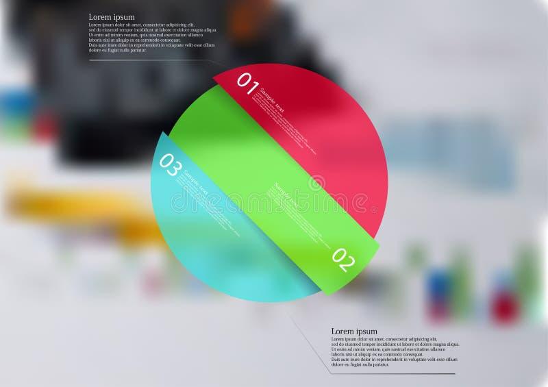 Molde infographic arredondado com o oblíquo do objeto dividido a três porções ilustração stock