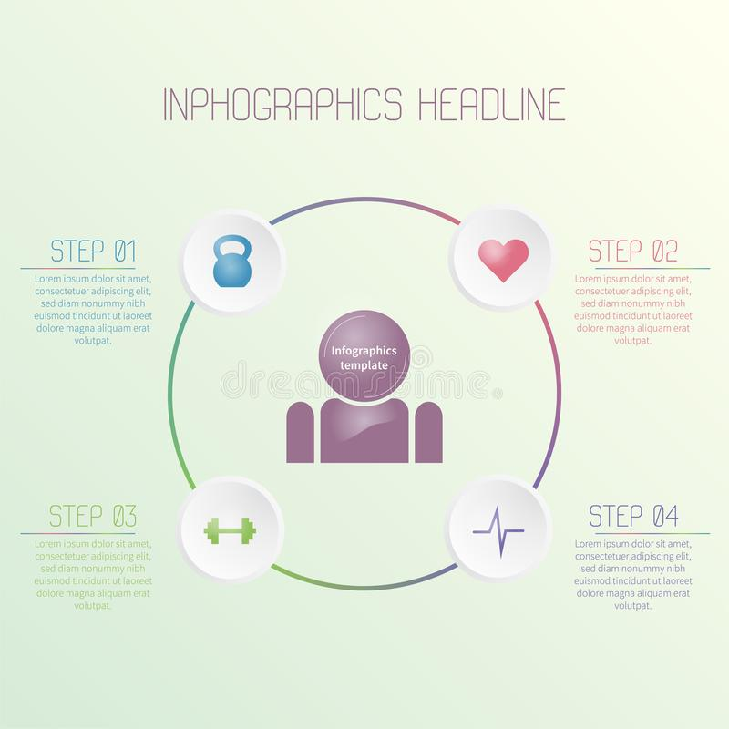 Molde infographic colorido com ícones da aptidão Conceito colorido do negócio fotos de stock