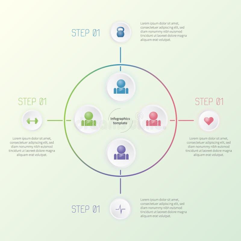 Molde infographic colorido com ícones da aptidão Conceito colorido do negócio fotografia de stock royalty free