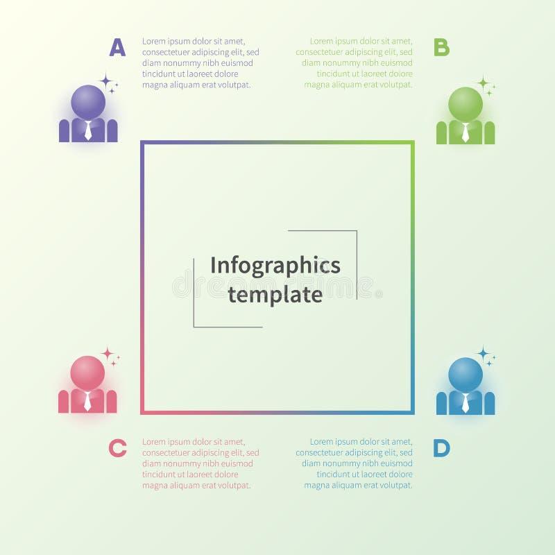 Molde infographic colorido com pictograma do homem de negócios Conceito do negócio no estilo liso fotografia de stock royalty free
