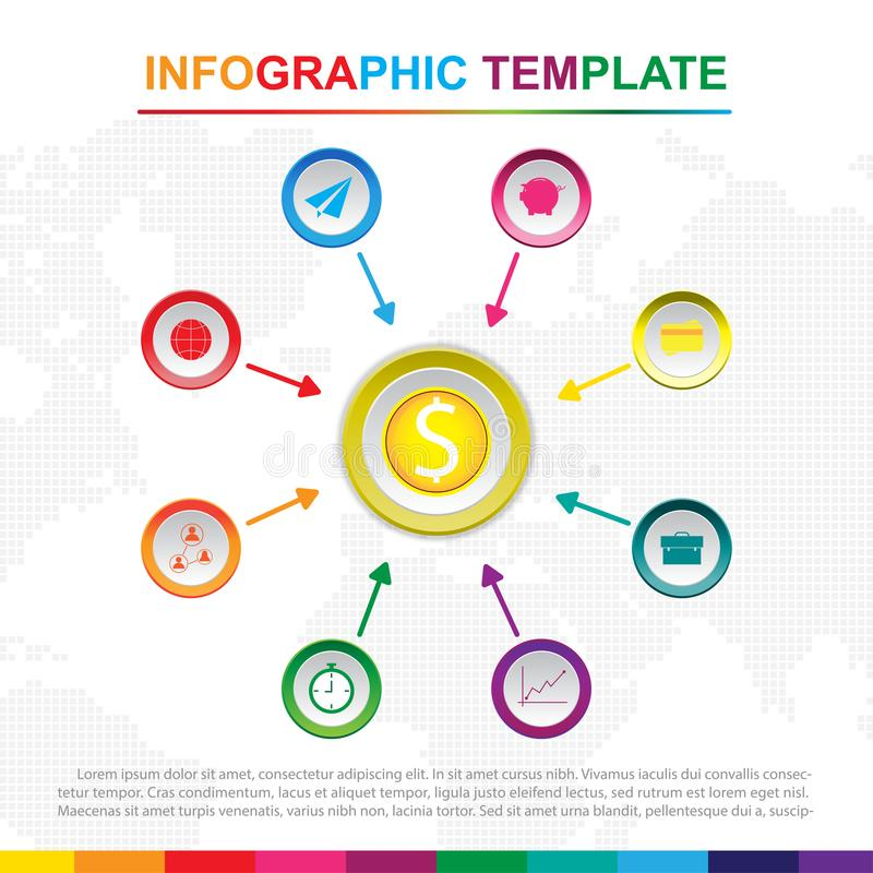 Molde infographic colorido com 9 t?tulos, diagrama com etapas ilustração stock