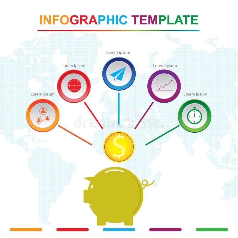 Molde infographic com 5 títulos, diagrama do mealheiro com etapas ilustração royalty free