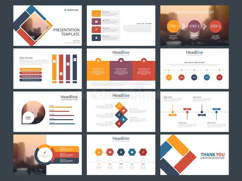 Molde infographic da apresentação dos elementos do pacote colorido informe anual do negócio, folheto, folheto, inseto de propagan ilustração do vetor